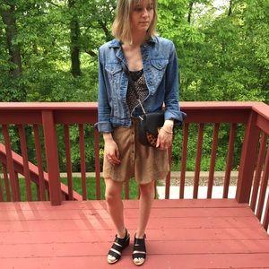 Francesca Blue Rain Tan Faux Suede Skirt Small